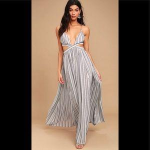 LULU'S BREEZY DAY BLUE & WHITE STRIPED MAXI DRESS